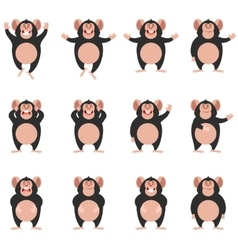 Set of Chimpanzee flat icons vector image
