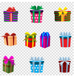 Set of colourful gift boxes isolated on vector