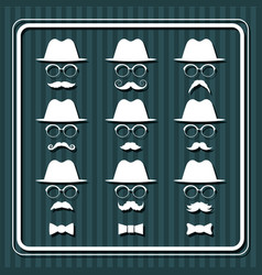 Set of men images with hats and mustaches vector