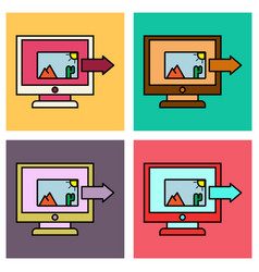 Set of photos icon on laptop screen multimedia vector