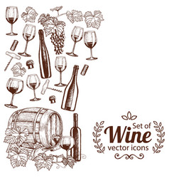 Side vertical border with sketch wine icons vector