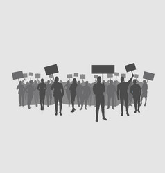 Silhouette protesters crowd holding protest vector