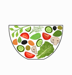 sliced vegetables in a salad bowl a set of vector image