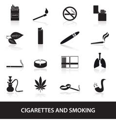 smoking and cirarettes simple black icons set vector image