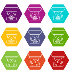 spa aroma bottle icons set 9 vector image
