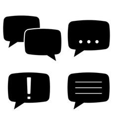 speech bubbles flat black icons set vector image