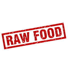 Square grunge red raw food stamp vector