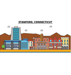 Stamford connecticut city skyline architecture vector