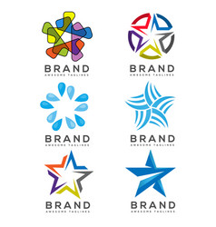 star icons and logo collection vector image