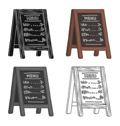 Street bar menua sign with the tasty dishes in vector
