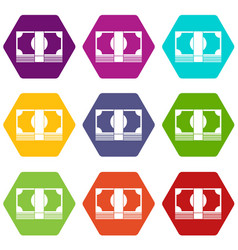 Swiss franc banknote icon set color hexahedron vector