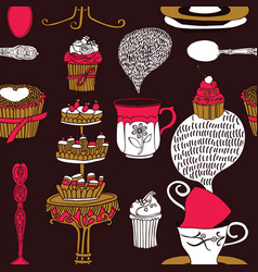 Tea time background vector