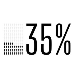 Thirty five percent people chart graphic 35 vector