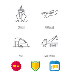 transportation icons cruise airplane signs vector image