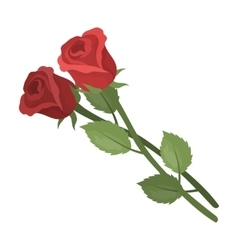 Two roses icon in cartoon style isolated on white vector image