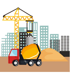 under construction mixer truck vehicle sand and vector image