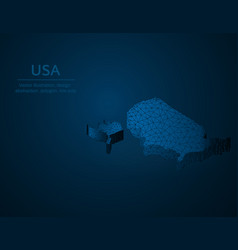 united states of america low poly usa map vector image