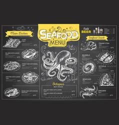 vintage chalk drawing seafood menu design vector image vector image