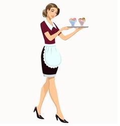 Waitress with ice cream vector