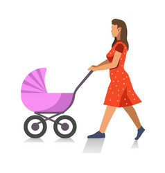 Walking mother with baby carriage isolated vector