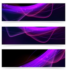 Web neon swoosh line bright header set vector