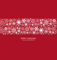 White and red seamless snowflake border xmas vector