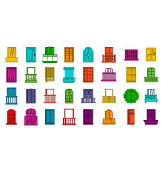 Windows icon set color outline style vector