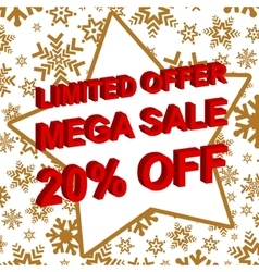 Winter sale poster with LIMITED OFFER MEGA SALE 20 vector