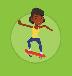Woman riding skateboard vector