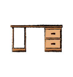 Wooden desk drawers handle furniture office vector
