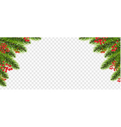 xmas border garland with holly berry transparent vector image