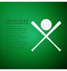 Crossed baseball bats and ball flat icon on green vector image