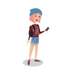 fashionable female student with pink hair standing vector image vector image