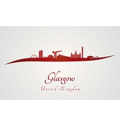 Glasgow skyline in red vector image vector image