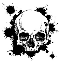 human skull with black ink blots vector image vector image