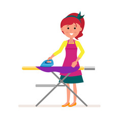 cartoon housekeeper or servant housewife ironing vector image vector image