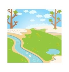 Natural green grass spring background with river vector image