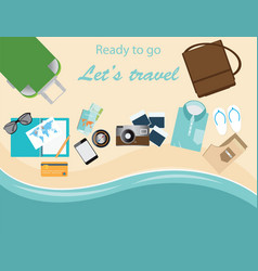 travelers suitcase travel vacations conceptual vector image