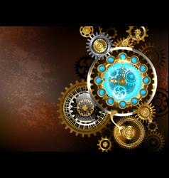 Unusual clock with gears vector