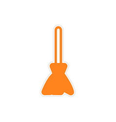 Bright stylish sticker broom on a white background vector image vector image