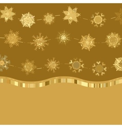 Christmas golden snowflakes background vector image