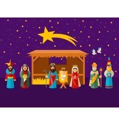 Christmas nativity scene with holy family vector image