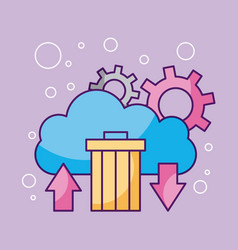 cloud computing storage trash network icon symbol vector image