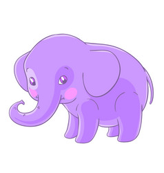 cute purple elephant in a cartoon style vector image vector image