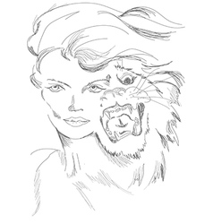 A woman and tiger in one guise vector image vector image