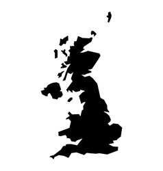 Black silhouette map of United Kingdom vector image vector image