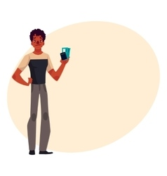 Confused african american black man holding vector