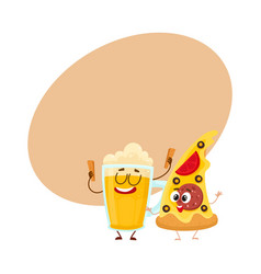 funny beer mug and yummy pizza slice characters vector image vector image