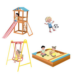 happy kids playing at the playground vector image vector image