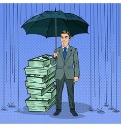 Pop Art Happy Businessman Protecting Money vector image
